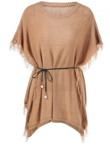 Outfits Tassles Belted Bat Sleeve Knit Dress