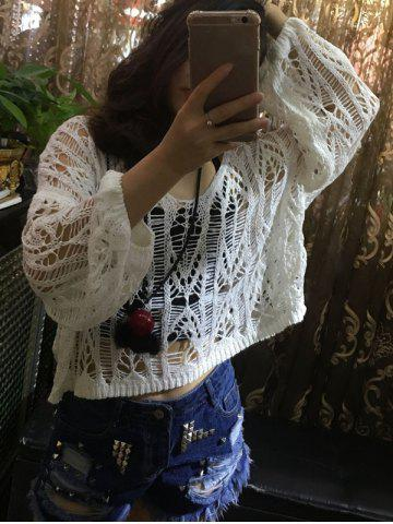Buy Loose Openwork Puff Sleeves Knitwear