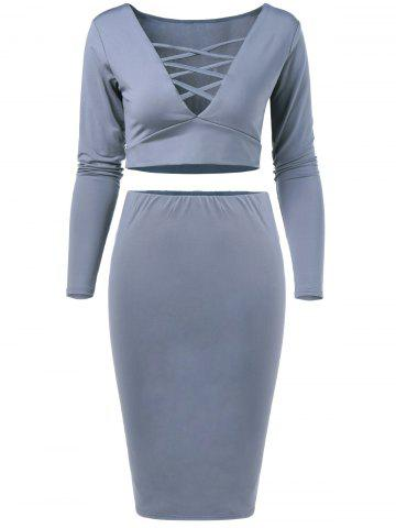 Store V Neck Crop Top and Pencil Skirt GRAY L