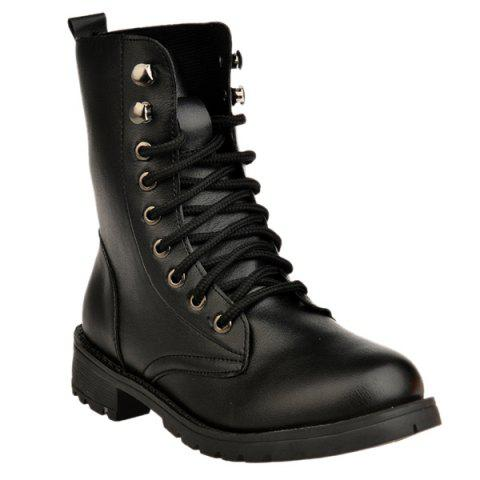 Best Metal Eyelet PU Leather Combat Boots
