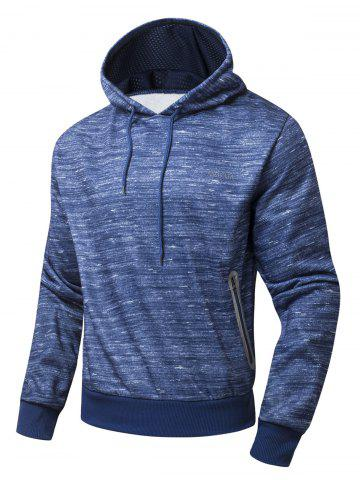 Outfit Zipper Pocket Design Marled Hoodie BLUE XL