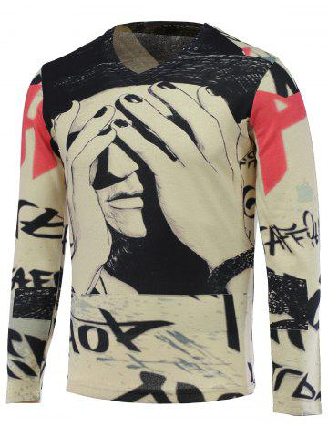 Buy V-Neck 3D Figure Print Long Sleeve Sweater COLORMIX 3XL