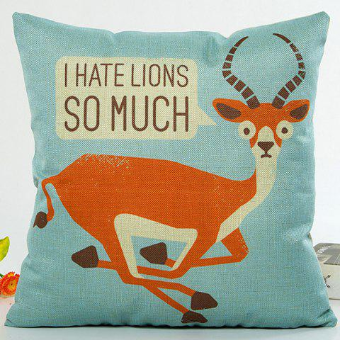 Chic Sika Deer Cartoon I Hate Lions So Much Words Design Pillow Case