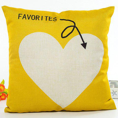 Latest Favorites Letter Love Heart Design Flax Cushion Pillow Case YELLOW