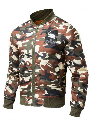 Unique Patch Embellished Rib Spliced Camo Jacket