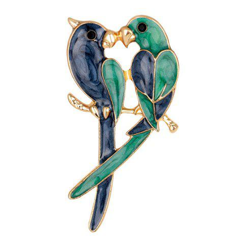 Trendy Enamel Kissing Birds Brooch VERDIGRIS