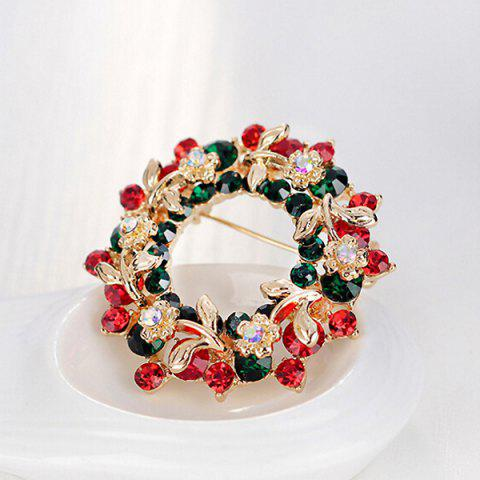 Outfit Flower Wreath Brooch - RED  Mobile