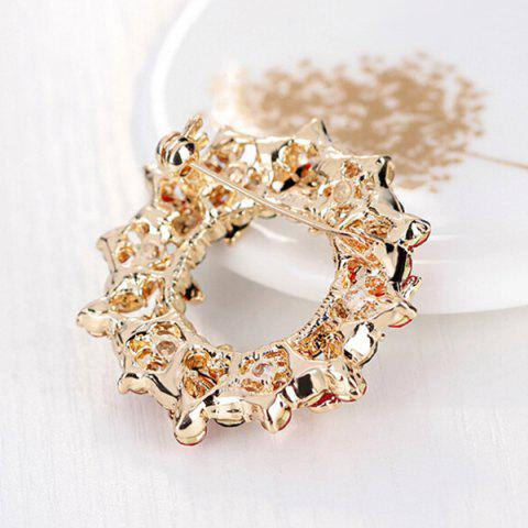 Discount Flower Wreath Brooch - RED  Mobile