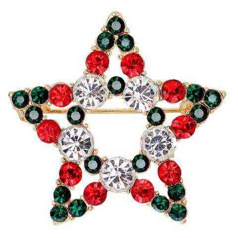 Discount Rhinestone Star Brooch - BLACKISH GREEN  Mobile