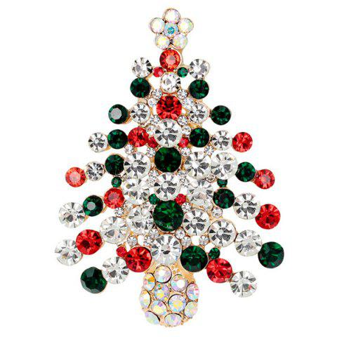 Outfits Zircon Christmas Tree Brooch BLACKISH GREEN