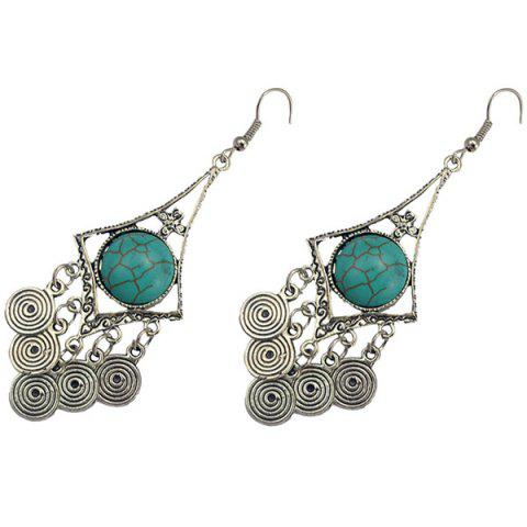 Affordable Faux Turquoise Spiral Earrings - TURQUOISE  Mobile
