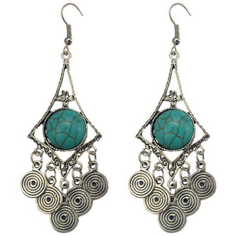 Faux Turquoise Spiral Earrings - TURQUOISE