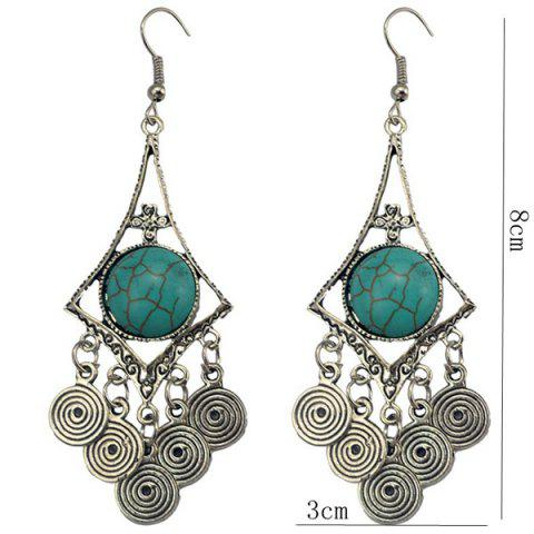 Fancy Faux Turquoise Spiral Earrings - TURQUOISE  Mobile