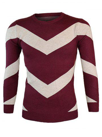 Affordable Color Block Waviness Round Neck Long Sleeve Sweater WINE RED 2XL