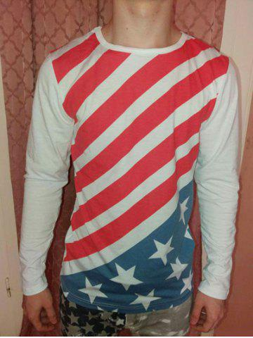 Hot Slimming Round Neck Color Block Striped Star Pattern Long Sleeves T-Shirt