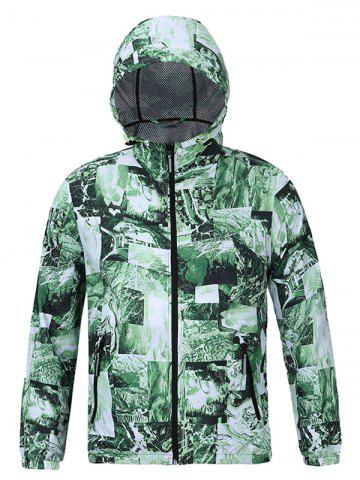 Latest Hooded 3D Abstract Pattern Spliced Print Zip-Up Jacket GREEN 2XL