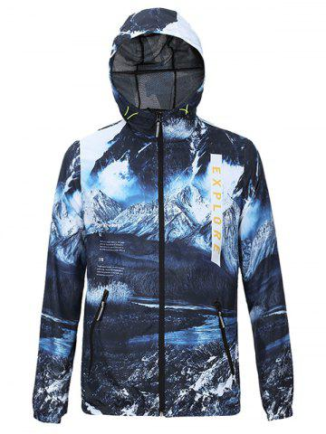 Cheap Hooded 3D Jokul and Letters Print Zip-Up Jacket BLUE 2XL