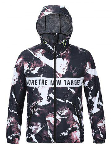 Hot Hooded 3D Magma and Letters Print Zip-Up Jacket