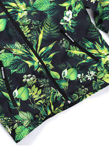 Discount Hooded 3D Leaves and Flowers Print Zip-Up Jacket - 2XL GREEN Mobile