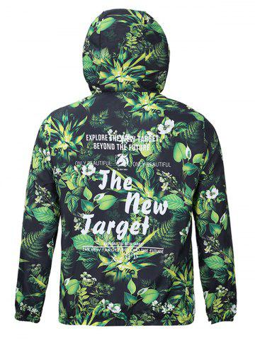 Trendy Hooded 3D Leaves and Flowers Print Zip-Up Jacket - 2XL GREEN Mobile