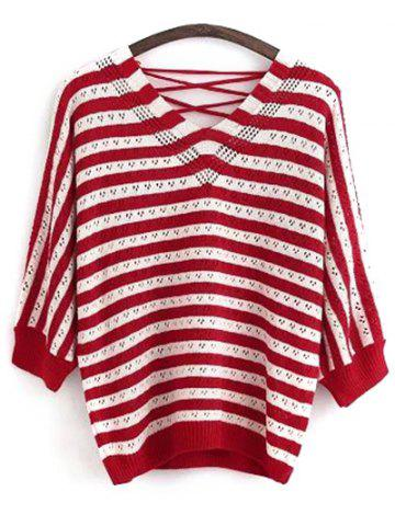 New V Neck Back Lace Up Long Sleeve Striped Sweater