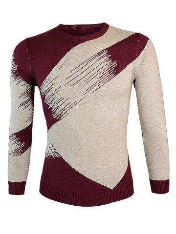 Affordable Color Block Splicing Round Neck Long Sleeve Sweater - L WINE RED Mobile