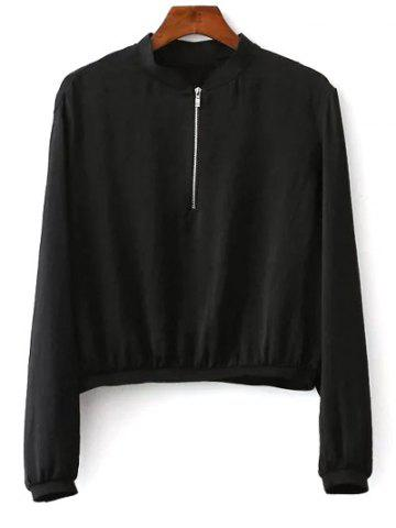 Store Stand Neck Floral Embroidered Zipper Sweatshirt BLACK L