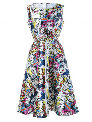 Hot Cartoon Pattern Sleeveless Dress