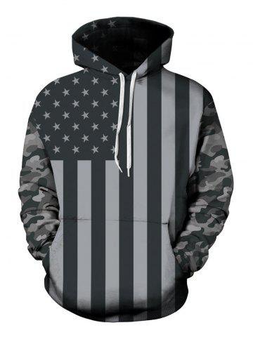 Latest Drawstring American Flag Print Hoodie