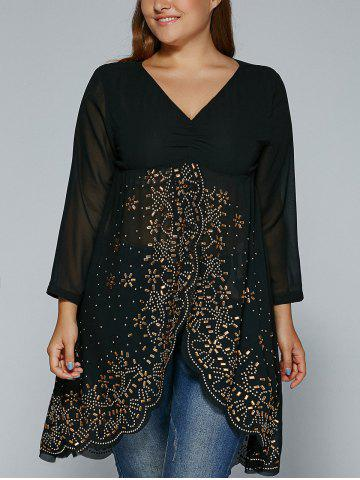 Buy Rhinestone See-Through Asymmetric Blouse