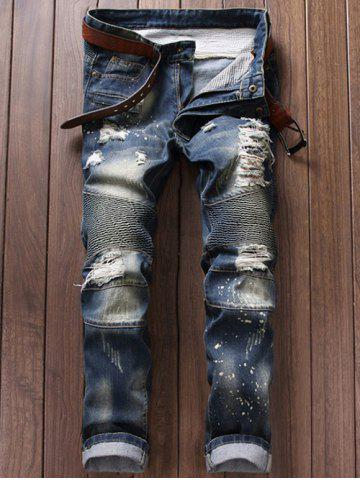 Paint Splatter Ripped Moto Jeans - Blue - 40