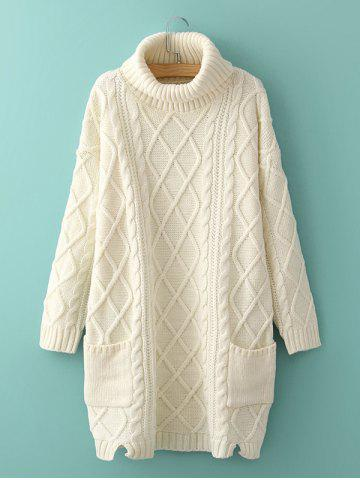 Long Cable Knit Polo Neck Jumper Sweater - White - One Size