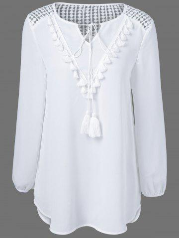 Best Tassles Splicing Long Sleeve Chiffon Blouse