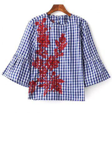 Sale Round Neck Flare Sleeve Checked Embroidered Blouse