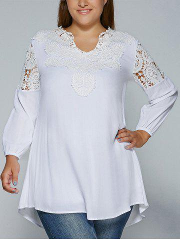 Affordable Plus Size Crochet Lace Splicing Blouse