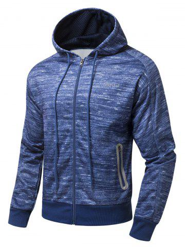Trendy Drawstring Hood Zipper-Up Marled Hoodie