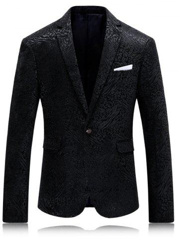 Col à revers Bouton simple Jacquard Blazer