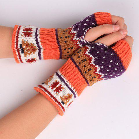 Pair of Christmas Tree Snow Knitted Fingerless Gloves - Orange Red