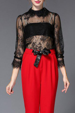 See Through Lace Blouse - Black - S