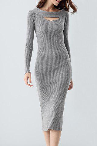 Best Midi Ribbed Knit Long Sleeve Bodycon Dress GRAY ONE SIZE