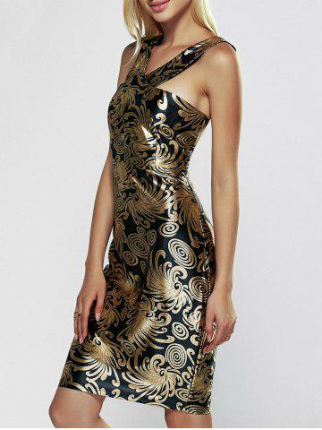 Latest Sleeveless Print Bodycon Club Dress BLACK AND GOLDEN XL