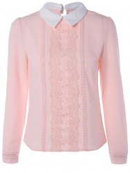 Lace Floral Embroidered Chiffon Shirt
