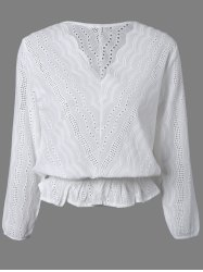 Hollow Out Wavy Pattern Slimming Blouse -