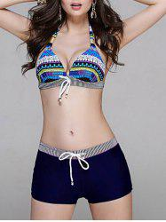 Drawstring Printed Stripe Panel Bikini Set