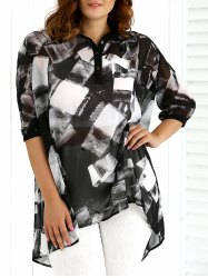 Abstract printing 3/4 Sleeve Blouse