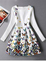 Jacquard Butterfly Skater Dress with Sleeves - WHITE L
