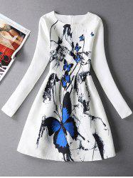 Long Sleeves Textured Dress with Butterfly Print
