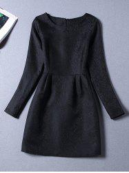 Long Sleeves Jacquard Cocktail Short Skater Dress - BLACK 2XL