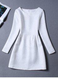 Long Sleeves Jacquard Cocktail A Line Dress