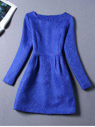 Long Sleeves Jacquard Cocktail Short Skater Dress - ROYAL BLUE